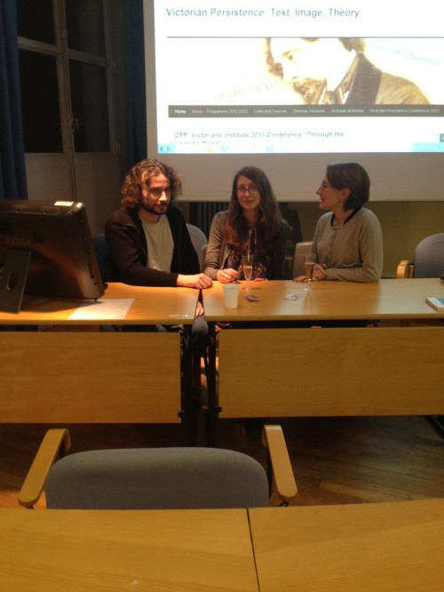 Loïc Prud'homme, Róisín Quinn-Lautrefin and Cécile Beaufils discussing production in the Victorian era