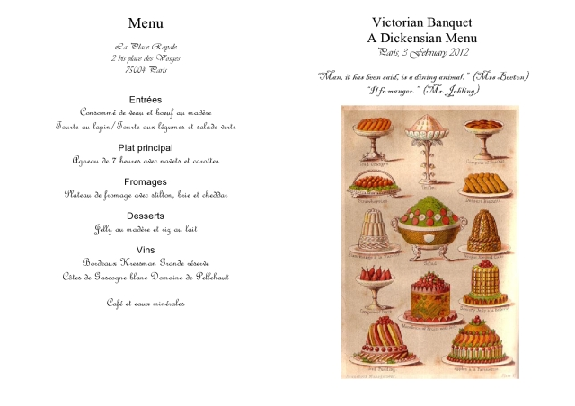 Victorian Menu A Tale of Four Cities 1