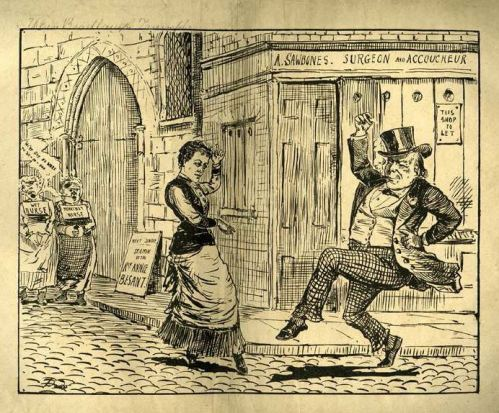 """""""When Bradlaugh Triumphs."""" Annie Besant and Charles Bradlaugh dance in the streets in an imagined England in whichbirth control is practiced."""