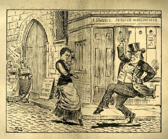 """When Bradlaugh Triumphs."" Annie Besant and Chalres Bradlaugh dance in the streets in an imagined England in whichbirth control is practiced."