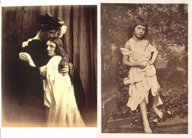 1. Julia Margaret Cameron, 1867, Romeo and Juliet, albumen print. Models: Henry John Stedman Cotton and Mary Ryan. 2. Lewis Carroll (Charles Dodgson), c.1859, Alice Liddell as the Beggar Maid, albumen print. Model: Alice Pleasance Liddell.