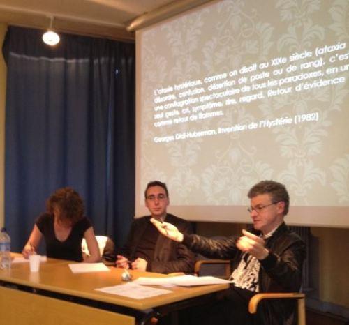 Clémence Folléa (Université Paris Diderot), Renaud Lejosne-Guigon (Université de Poitiers) and Pr. Georges Letissier (Université de Nantes) discussing a quotation from Didi-Hubermann on Hysteria