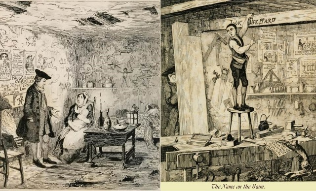 """George Cruikshank, """"Mr Wood Offers to Adopt Little Jack Sheppard"""", and """"The Name on the Beam"""", 1839."""