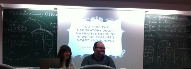 Verity Burke and Andrew Mangham discussing the links between science and literature during the seminar