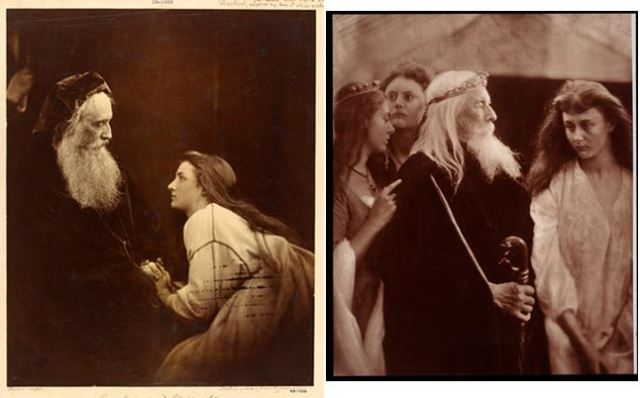 1. Julia Margaret Cameron, 1865, Prospero and Miranda, albumen print. Models: Henry Taylor and Mary Ryan. 2. Julia Margaret Cameron, 1872, King Lear allotting his kingdom to his three daughters, albumen print. Models: Lorina Liddell, Edith Liddell, Charles Hay Cameron, Alice Pleasance Liddell.