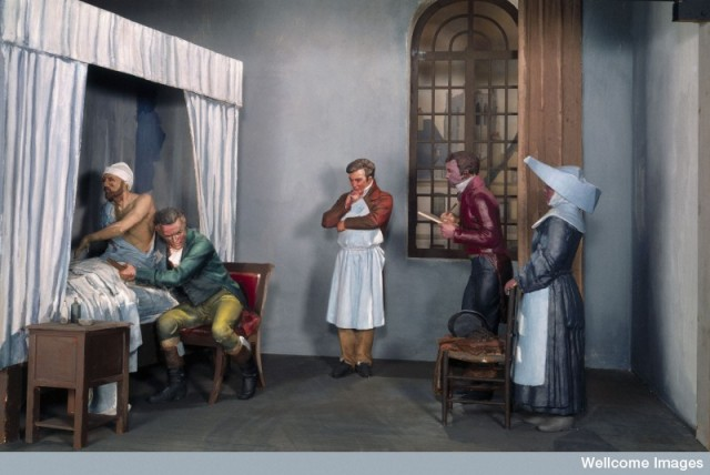 L0058191 Diorama showing René Laennec examining a patient at the Neck